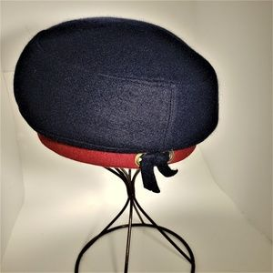 Vintage Adolfo Wool Navy/Red French Beret